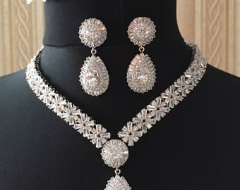 Wedding Zirconia Jewelry Bridal Set Necklace Cubic