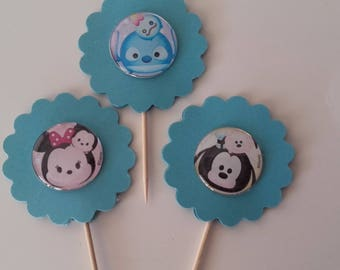 Tsum Tsum Cupcake Toppers, Party Supplies, Birthday Party Toppers,