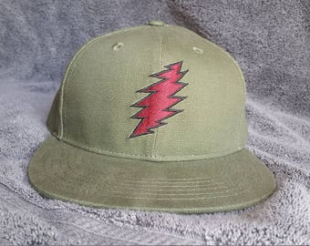 Bolt Snapback Hat / Olive Hemp with Dark Maroon Bolt