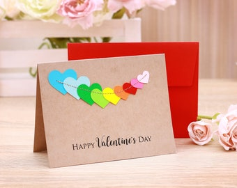 Valentines Day Cards Set of 5  Valentine's gift -mature with beautiful Heart Colorful Stitching Valentines Day Card Pack Happy