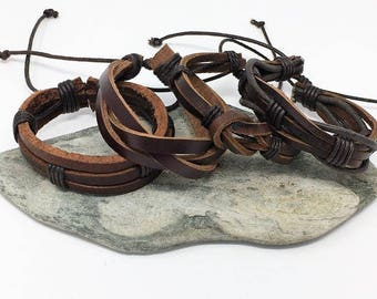 Brown Leather Bracelet, Mens Leather Bracelet Set, Gifts under 20, Brown Leather Braclet Set, Womens Leather Bracelets 4PC8