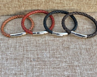 Leather Gifts Mens Leather Bracelet Stainless Steel Magnetic Clasp Mens Bracelet Leather Bracelet Men Gifts under 20 CS-3