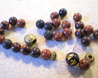 KIT + 1 obsidian and lava beads Yoga BRACELET bead Tibetan