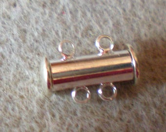 A silver tube clasp magnetic 2 holes 14 x 10 mm