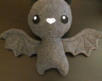 Stuffed bat plushie, dark grey bat, cute bat plushie