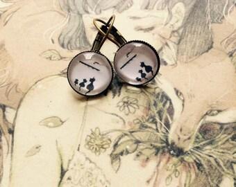 Cat cameo earrings