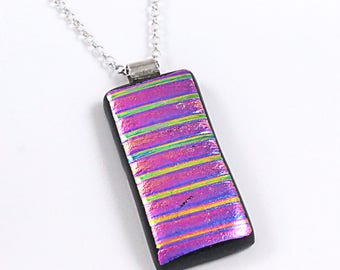 Purple / Pink Dichroic Fused Glass Pendant - Gift for Her