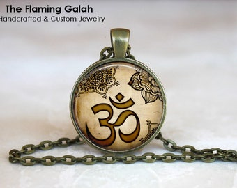 INDIAN OM Pendant • Meditation • Mandala • Gold OM • Buddhist Symbol • Yoga Symbol • Hindu Om • Gift Under 20 • Made in Australia (P1564)