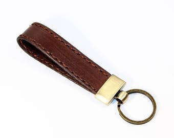 Leather key chain, leather key fob, handmade brown key chain, leather key ring, handmade leather accessories.