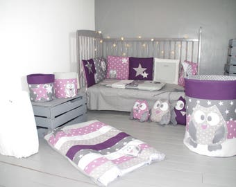 Mattress cover diaper owls and stars (purple / grey)