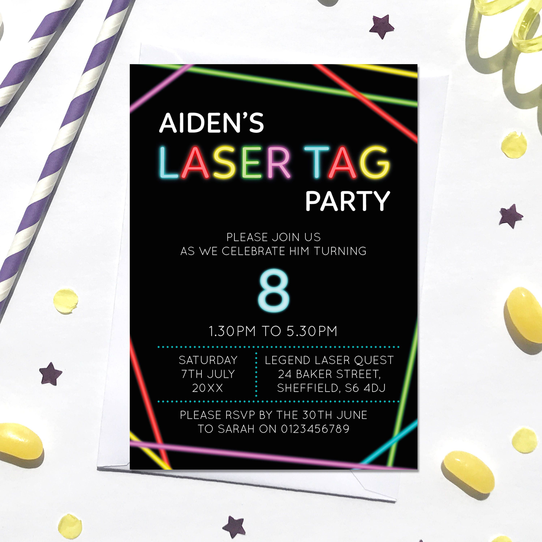 Laser Tag Birthday Invitation, Digital File, PDF, DIY, Lazer Tag ...