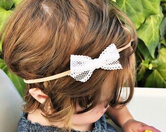 White Lace Ribbon bow, infant bow, tiny bow, newborn bow, small bow, premie bow