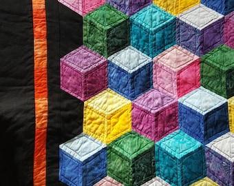 3D Cubes Batik Fabric Quilt