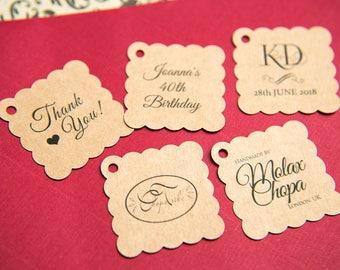 "Printed Kraft 1.5"" Square Gift Tags, Kraft Wedding favour tags, Custom Jewellery Tags, wedding favors 1.5 inch. Small 35mm tags"