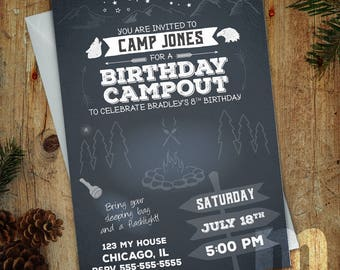 Backyard Campout Birthday Invitation, Kids Birthday Card, Digital Birthday Invitations, Digital Birthday Card, Printable Birthday Invitation