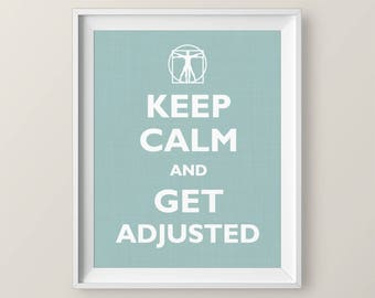 Chiropractic Keep Calm Poster, Adjust On, chiropractor gift Chiropractic student gift vitruvian man