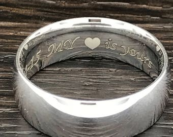 7mm Personalized Titanium Wedding Band, Custom Engraved Promise Ring, Couples Ring for Him and Her, Purity Ring, Wedding Ring