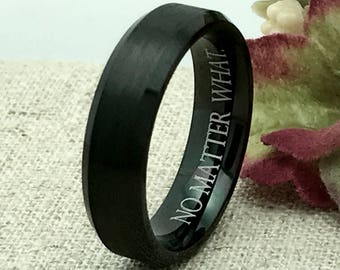 6mm Personalized Black Cobalt Ring, Custom Promise Ring for Him, Purity Ring, Custom Date Ring, Couple Promise Rings, Coordinates Ring