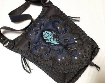 leather bag,shoulder bag for hanging,black genuine leather,rockstyl,boho,gothic,punk,middle age,with rivets,unique,handmade,rock,saddle bag
