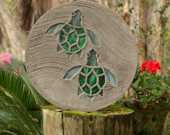 "Baby Sea Turtles Hatchlings Stained Glass Stepping Stone 18"" Diameter Perfect for Your Garden Patio or a Path to the Backyard Fish Pond #810"