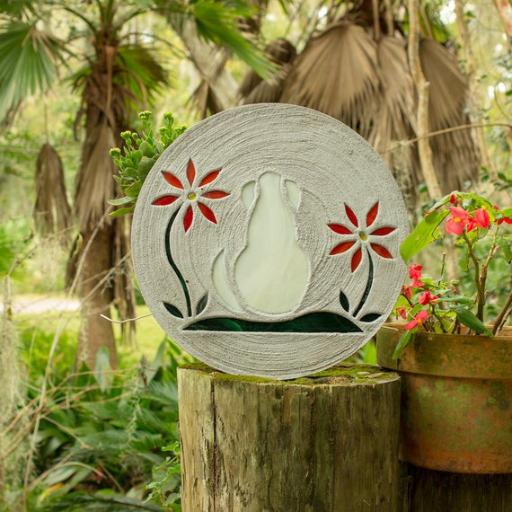 "White Dog Stepping Stone, Large 18"" Diameter Made with Concrete and Stained Glass, Perfect for Your Garden or a Pet Memorial #773"