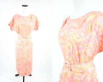 1960's Sherbert Floral Swirl Short-sleeve Belted Dress