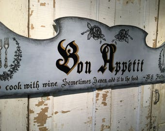 Bon Appetit French Good Appetite Wood Sign Family Meal Sign Kitchen Decor Parisian