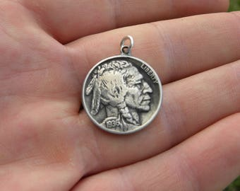 Authtic Buffalo Indian Nickel coin Various dates pendant necklace tribal surfer style handmade