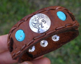 Cuff Bison leather customize size cuff Bracelet wristband Native Indian Navajo sterling silver Kokopelli turquoise  rustic cowboy cowgirl