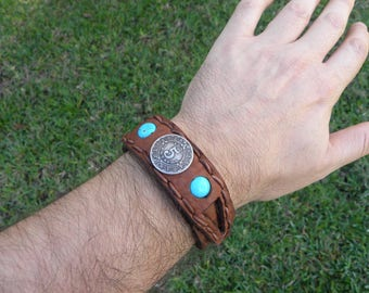 Cuff Bison leather  customize size cuff Bracelet wristband Vintage Aztec calendar Mexican 5 Centavos  coin turquoise  cowboy cowgirl  rustic