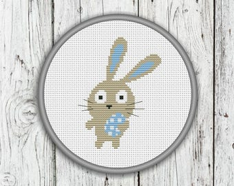 Easter Bunny Counted Cross Stitch Pattern, Animals Needlepoint Pattern - PDF, Instant Download