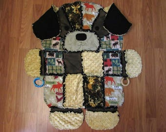 Puppy Rag Quillt for Baby, Snuggle Blanket Play Mat, Ready To Ship