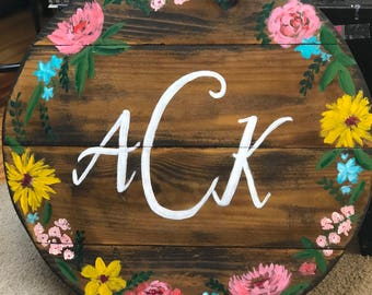 Hand painted Monogrammed Sign