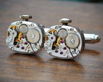 Hamilton Watch Movement Cufflinks - Steampunk Vintage Wedding Groom Gift Mens Present