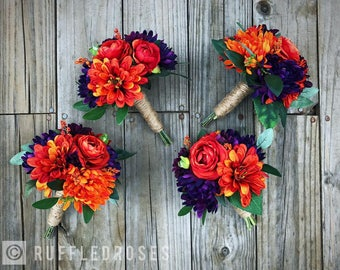 Orange and Purple Bridesmaid Bouquet, Boho Bridesmaid Bouquet, Fall Bridesmaid Bouquet, Burnt Orange and Purple Bouquet