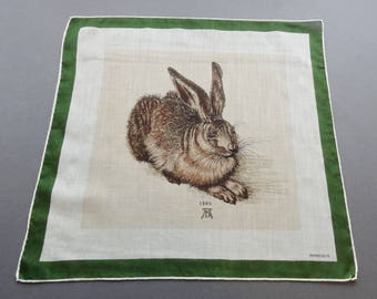 Albert Durer 1502 Hare Watercolor - Vintage Kreier Artist Reproduction Cotton Hankie Handkerchief