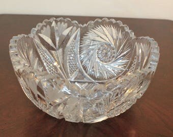 American Brilliant Cut Crystal Bowl with Pinwheel and Fan Pattern and Sawtooth Edge