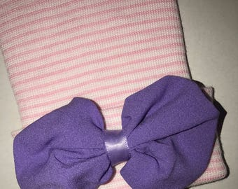 FLaSH SaLE Newborn Hospital Hat. Choice of Hat with Purple Chiffon Bow. Baby Beanie. 1st Keepsake! Newborn Beanies. Great Gift