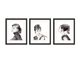 Watercolor Print Collection Audrey Hepburn Black and White 8.5 x 11