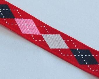 Pretty Red Ribbon with pink, white, black plaid pattern
