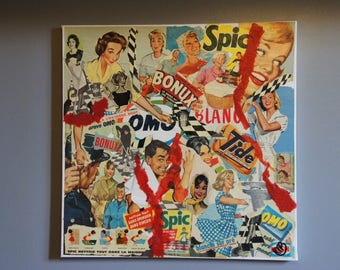 """""""CLEAN 2"""" COLLAGE ON CANVAS PUBS 50S-60S"""
