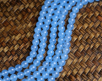 "Round Blue Chalcedony Beads Smooth Blue Agate Crystal Bead Wholesale 4mm 6mm 8mm 10mm 12mm 14mm Beads 15"" Strand"