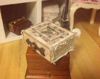 MINIATURE SECRET COMPARTMENT Book - 1:12 scale, shabby chic, miniature book with a secret compartment inside that holds a miniature jar