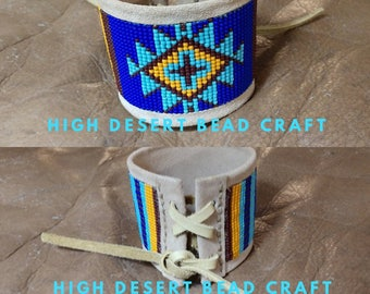 Serape Navajo Rough Out Leather Cuff