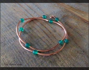 Bracelet, Multi Wrap, Copper, Jadite, Green