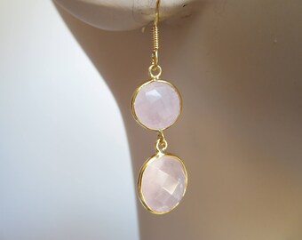 "Handcrafted Natural 10.00ctw Beveled Rose Quartz 14KT Gold/925 Sterling Silver Drop/Dangle French Ear Wire Earrings 1 3/4"" Long,Wt. 5 G"