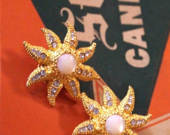 Star Fish Moonstone Clip On Earrings