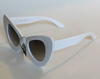 Thick white cat eye sunglasses