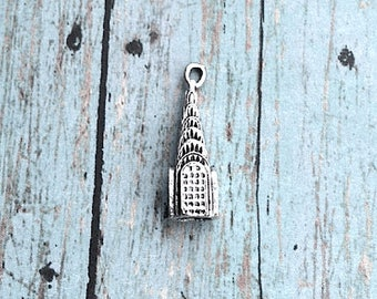 Chrysler building charm pewter 3D (1 pc) - New York City charm, Chrysler building pendant, NYC charm, skyscraper charm, building charm, SS11