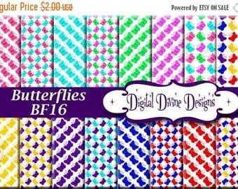 BTS Butterflies Digital Scrapbooking  Paper Set - Instant Download